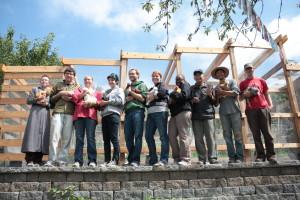 Volunteers with Chickens in the Danny Woo Community Garden